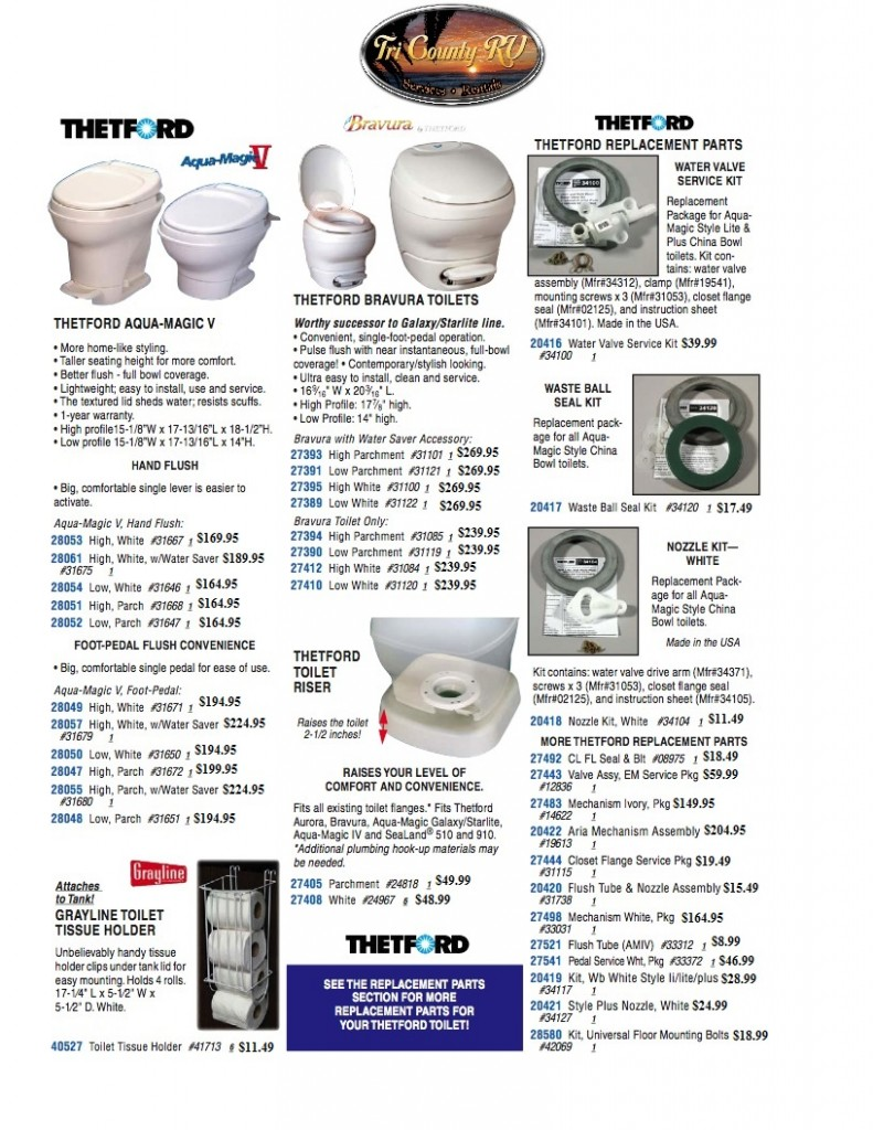 Tri County RV Parts / Acessories; Toilets 452